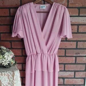 Vintage 80s KH II Sportswear Pink Secretary Dress
